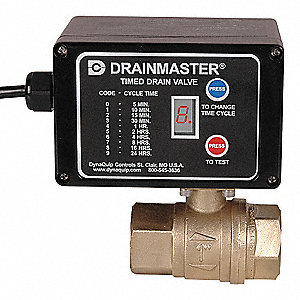 "5"" x 3-3/4"" x 5-3/8"" 115V Lead Free Brass Timed Electric Auto Drain Valve"