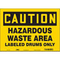 "Chemical, Gas or Hazardous Materials, Caution, Vinyl, 10"" x 14"", Adhesive Surface"
