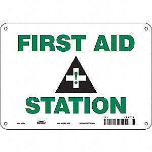 "First Aid, No Header, Plastic, 7"" x 10"", With Mounting Holes, Not Retroreflective"