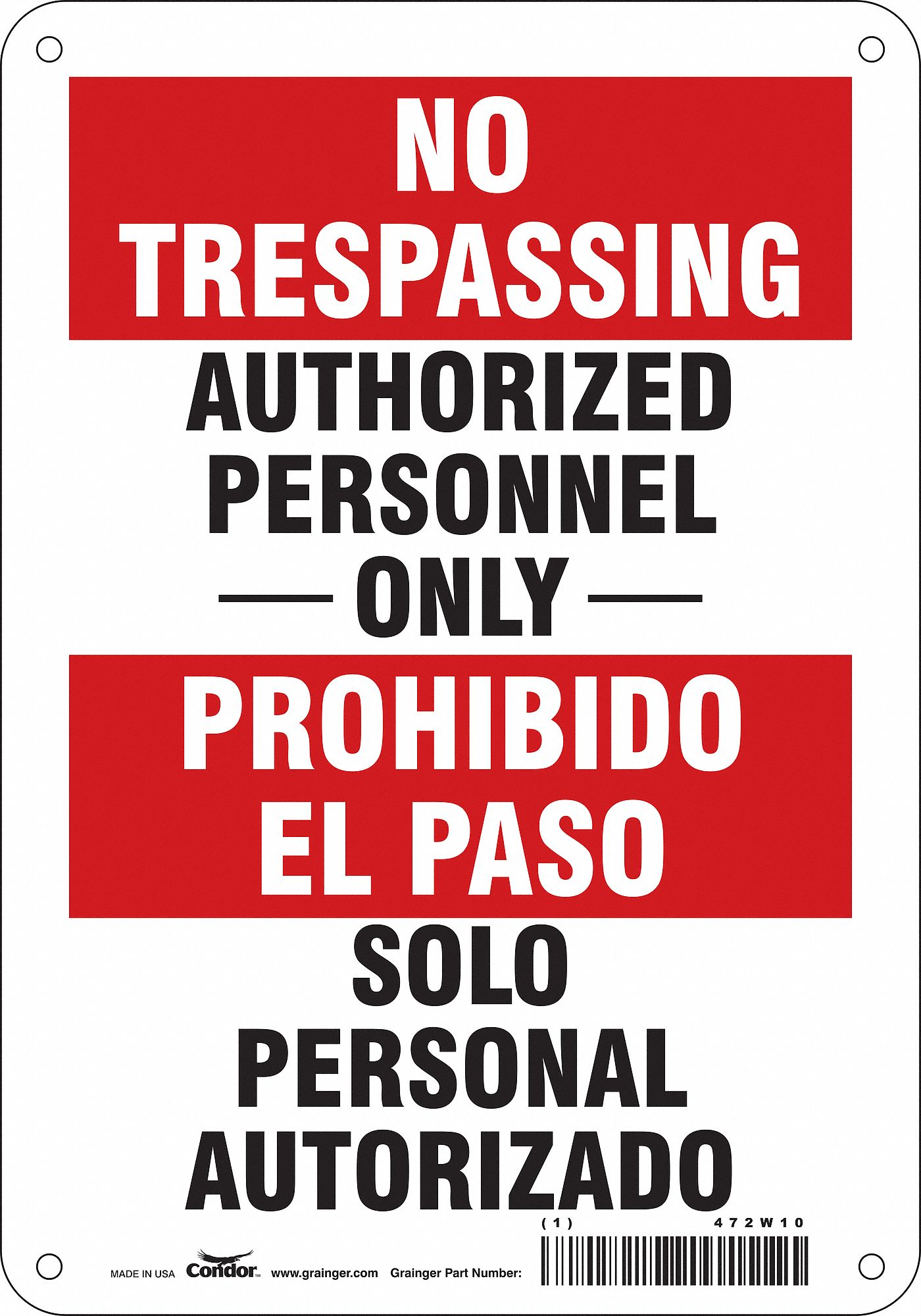 Details about  /CONDOR 479L98 Safety Sign,7 in x 10 in,Aluminum