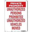 Private Property: Unauthorized Persons Prohibited Unauthorized Vehicles Removed Signs