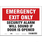 Emergency Exit Only: Security Alarm Will Sound If Door Is Opened Signs