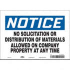 Notice: No Solicitation Or Distribution Of Materials Allowed On Company Property At Any Time Signs