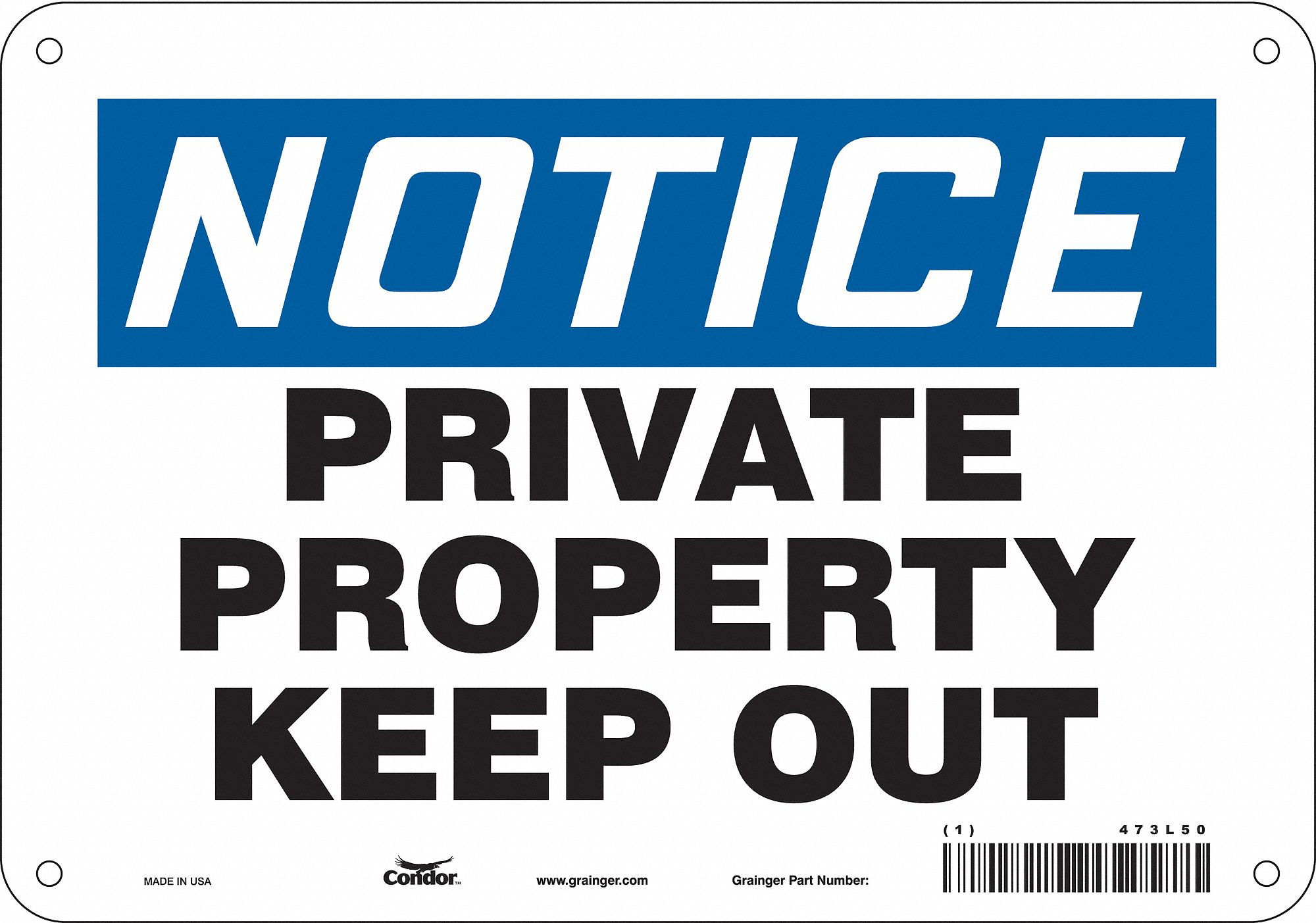 Trespassing and Property, Notice, Plastic, 7
