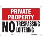 Private Property: No Trespassing No Loitering Signs
