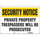 Security Notice: Private Property Trespassers Will Be Prosecuted Signs