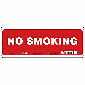 "No Smoking, No Header, Fiberglass, 5"" x 14"", With Mounting Holes, Not Retroreflective"