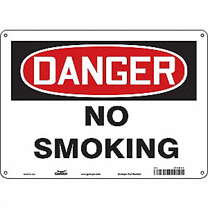 "No Smoking, Danger, Fiberglass, 10"" x 14"", With Mounting Holes, Not Retroreflective"