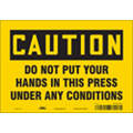 "Keep Hands Clear, Caution, Vinyl, 7"" x 10"", Adhesive Surface, Not Retroreflective"
