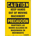 "Keep Hands Clear, Caution, Vinyl, 14"" x 10"", Adhesive Surface, Not Retroreflective"