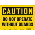 "Machine Guarding, Caution, Vinyl, 10"" x 14"", Adhesive Surface, Not Retroreflective"