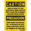 "Electrical Hazard, Caution, Aluminum, 14"" x 10"", With Mounting Holes, Not Retroreflective"