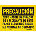 "Electrical Hazard, Caution, Vinyl, 10"" x 14"", Adhesive Surface, Not Retroreflective"