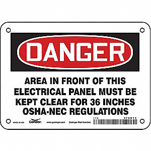 "Electrical Hazard, Danger, Vinyl, 5"" x 7"", Adhesive Surface, Not Retroreflective"