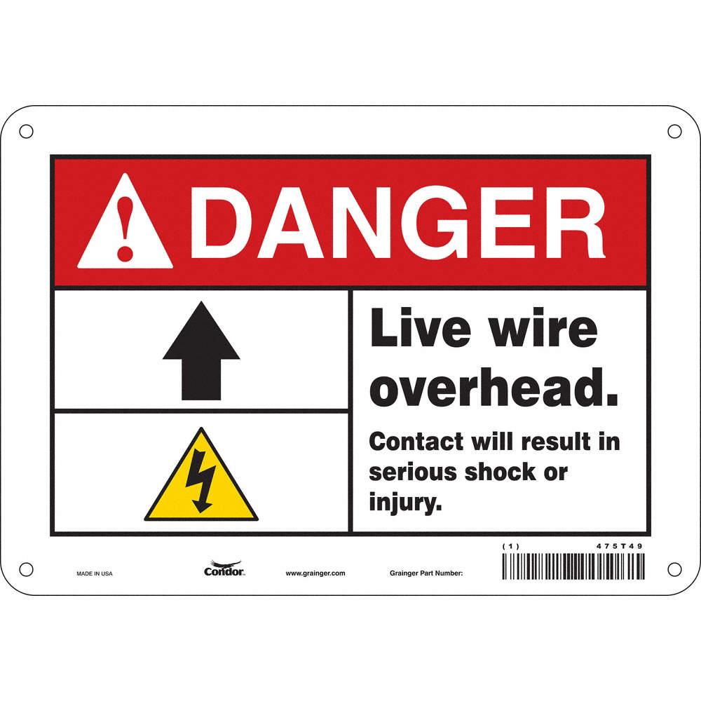 Condor Electrical Hazard Danger Aluminum 7 X 10 With Mounting Wiring Hazards Cad Downloads