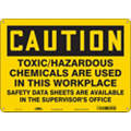 "Chemical, Gas or Hazardous Materials, Caution, Fiberglass, 10"" x 14"", With Mounting Holes"