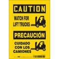"Lift Truck Traffic, Caution, Vinyl, 10"" x 7"", Adhesive Surface, Not Retroreflective"