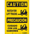 "Lift Truck Traffic, Caution, Vinyl, 14"" x 10"", Adhesive Surface, Not Retroreflective"