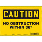 "Caution: No Obstruction Within 36"" Signs"