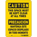 "Keep Clear, Caution, Aluminum, 10"" x 7"", With Mounting Holes, Not Retroreflective"