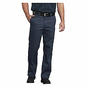 "Men's Work Pants, Cotton/Polyester, Color: Dark Navy, Fits Waist Size: 46"" x 32"""