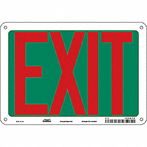 "Safety Sign,EXIT,7""x10"""