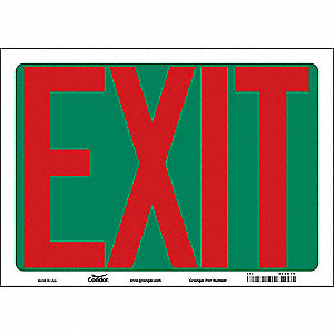 "Safety Sign,EXIT,10""x14"""