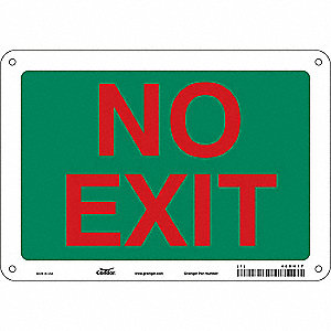 "Safety Sign, NO EXIT, 7""x10"""