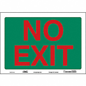 "Safety Sign, NO EXIT, 10""x14"""