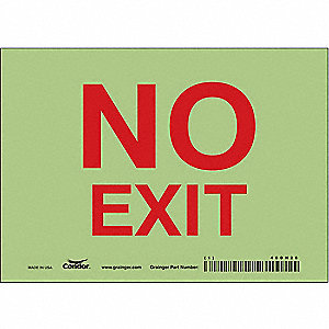 "Safety Sign, NO EXIT, 5""x7"""