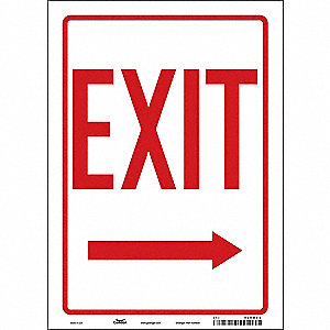 "Safety Sign, EXIT, 14""x10"""