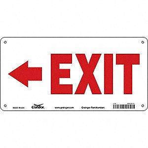 "Safety Sign, EXIT, 7""x14"""