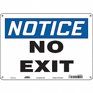 "Safety Sign,NO EXIT,10""x14"""