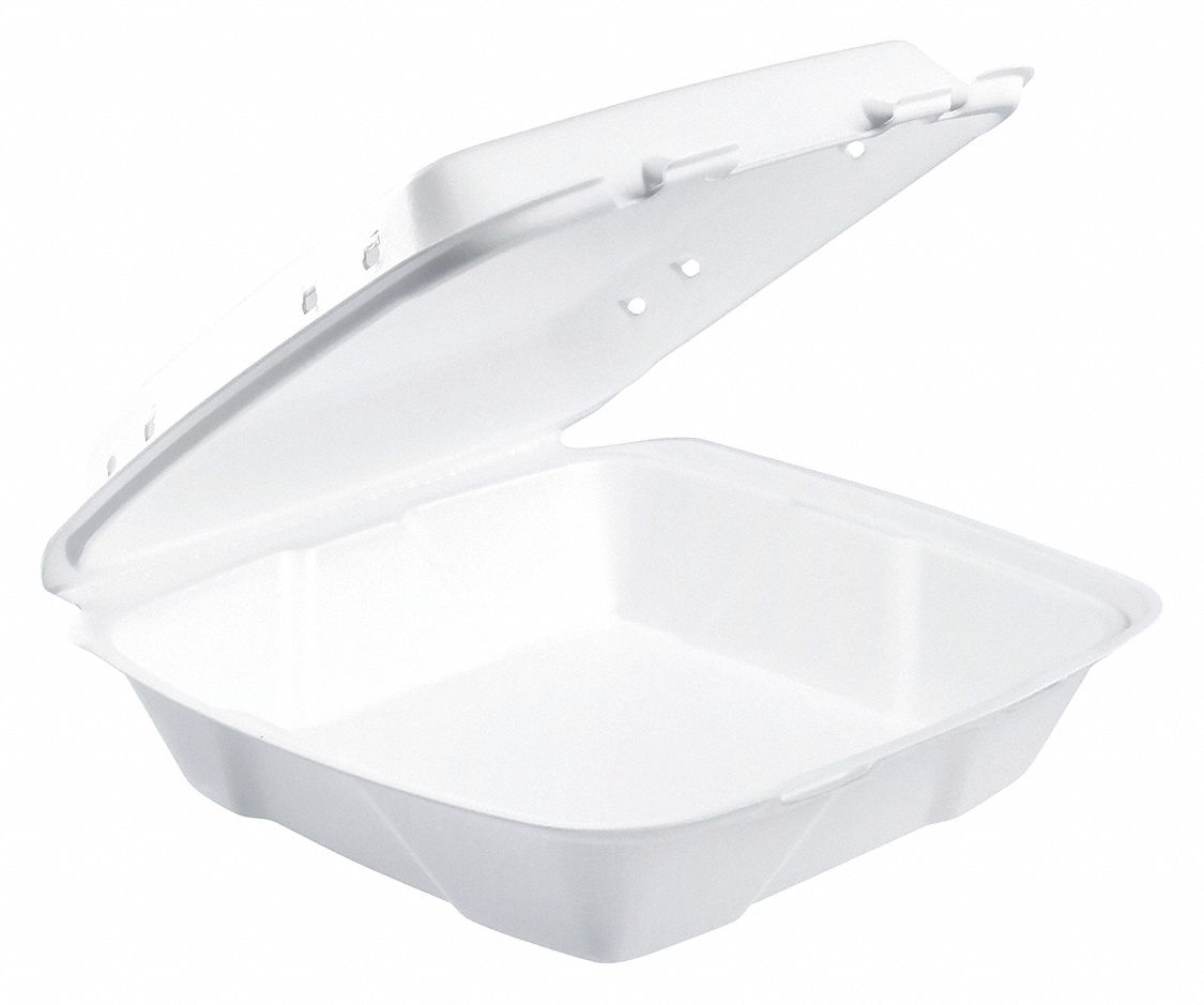 Foam Square Carry-Out Food Container, White, 200 PK