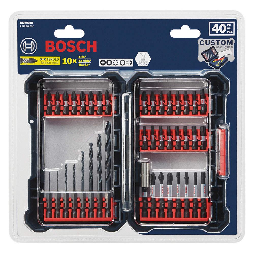 40-pc. twist drill bit set, 118°, 135°, high speed steel