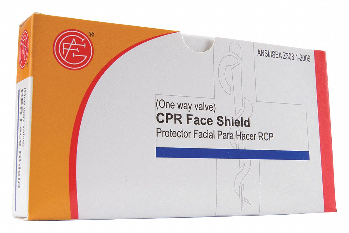 CPR Faceshield,  1 People Served,  Number of Components 2,  Nylon,  2 1/4 in Height,  1/2 in Width
