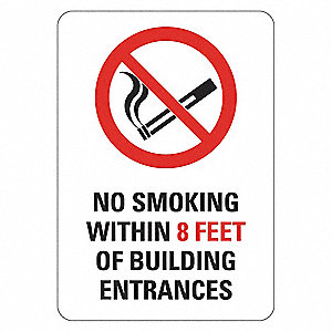 "No Smoking, No Header, Recycled Aluminum, 10"" x 7"", With Mounting Holes, Engineer"