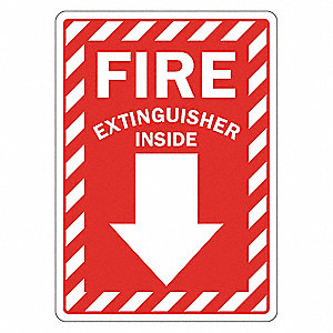 "Fire Equipment, No Header, Vinyl, 10"" x 7"", Adhesive Surface, Engineer"