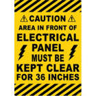 Caution, Area in Front Of Electrical Panel Must Be Keep Clear For 36 Inches Floor Signs