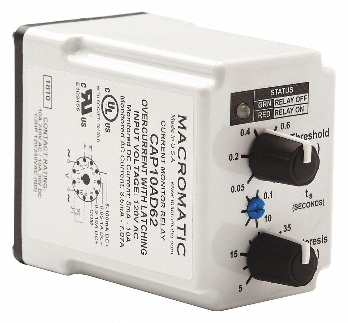 Current Sensing Relay, 24VAC, 10A @ 240V, 8A @ 28V, SPDT, Mounting: Plug In
