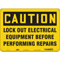 "Lockout Tagout, Caution, Plastic, 10"" x 14"", With Mounting Holes, Not Retroreflective"