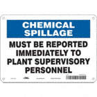 Chemical Spillage: Must Be Reported Immediately To Plant Supervisory Personnel Signs