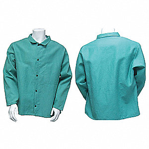 "Flame-Retardant Treated Cotton Jacket, Fits Chest Size 40"", Green"