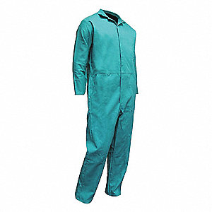 Flame-Retardant Treated Cotton Coverall, Fits Chest Size 52-54, Green