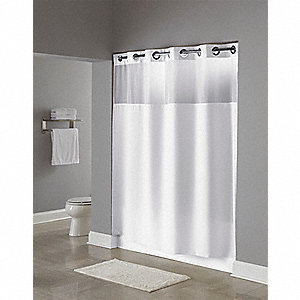 74H X 71W Polyester Shower Curtain White Hookless
