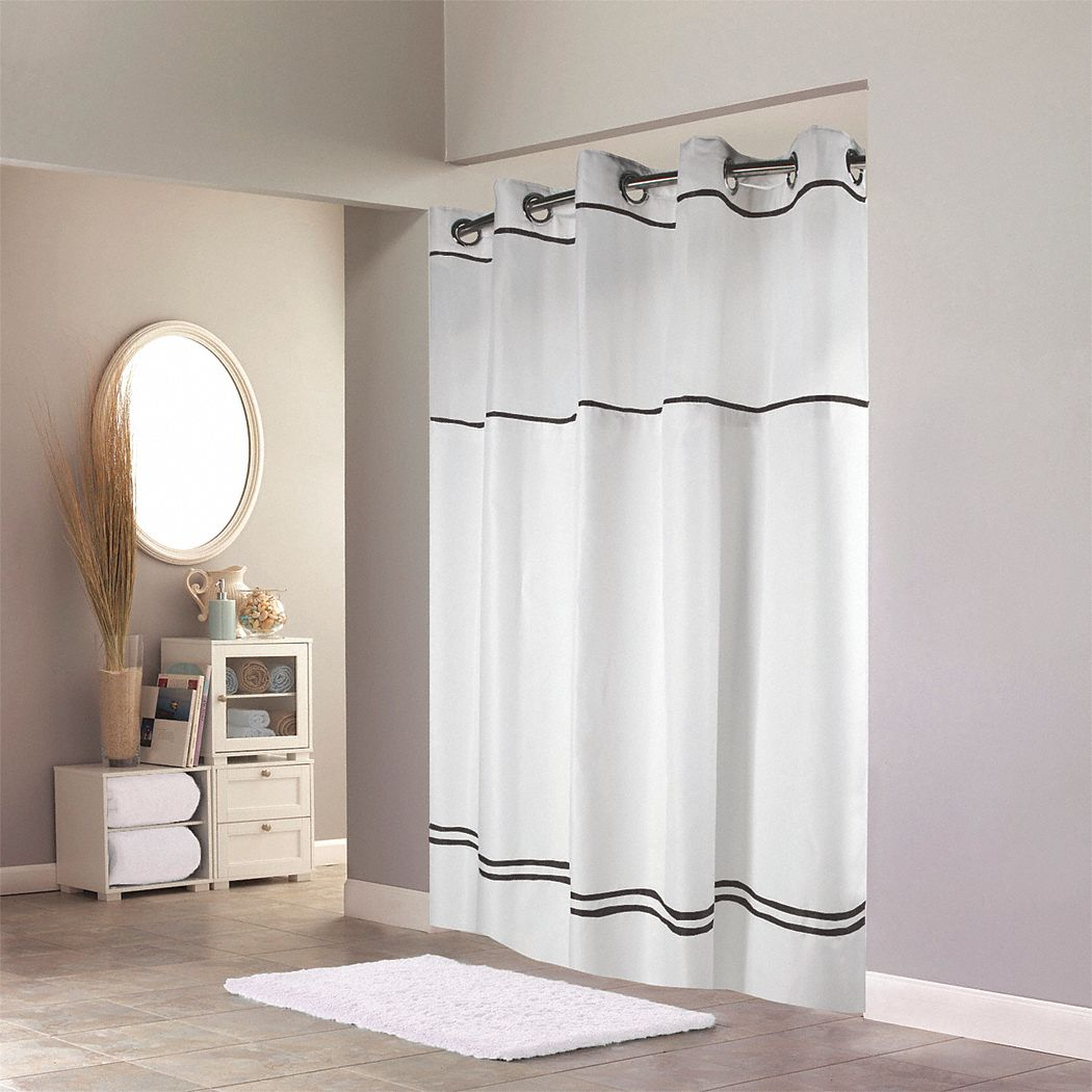 Shower Curtain,  71 in Width,  Polyester,  Black, White,  Hookless