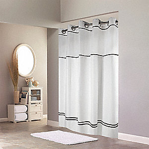 74H X 71W Polyester Shower Curtain White Black Hookless