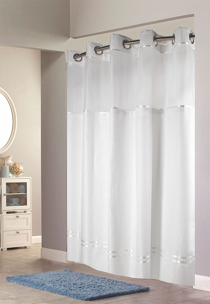Shower Curtain,  71 in Width,  Polyester,  White,  Hookless