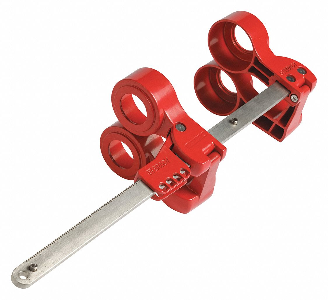 Blind Flange Lockout Device,  Red,  1.300 in to 2.240 in Nut Dia.,  Fits Pipe Size 3 in to 14 in