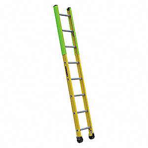 "8 ft. Fiberglass Manhole Ladder, 375 lb. Load Capacity, 14-1/2"" Overall Width, Rung Shape: Round"